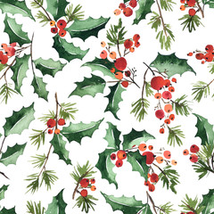 Christmas watercolor seamless pattern with twigs of holly, berries and spruce