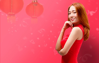 Smiling chinese woman with cheongsam dress