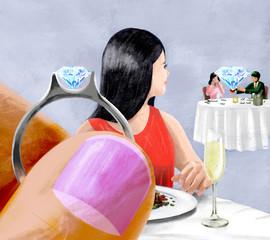 隣のカップルの指輪を気にする女性