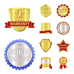 Vector design of emblem and badge icon. Collection of emblem and sticker stock symbol for web.