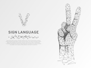 Origami Sign language V letter, two fingers pointing up hand in peace or victory symbol, Polygonal low poly. Deaf People silent communication alphabet. Connection wireframe. Vector on white background