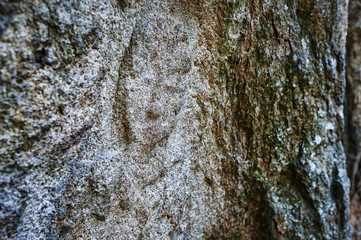 Buddhist Figures Carved On Rock Surface in Gyeongju.