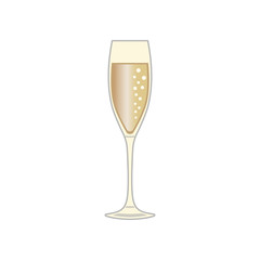 A glass of champagne, icon. Abstract concept. Vector illustration on white background.