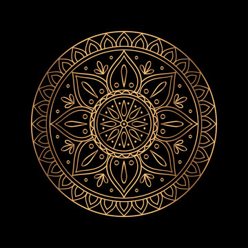 Luxury gold black mandala vector. Ethnic royal pattern snowflake. Golden sun design for Christmas ornaments, holiday card decoration, beauty spa salon or yoga studio decor, wedding invitation.