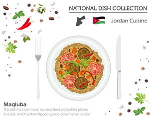 Jordan Cuisine. Middle East national dish collection.  Maqluba isolated on white, infograpi