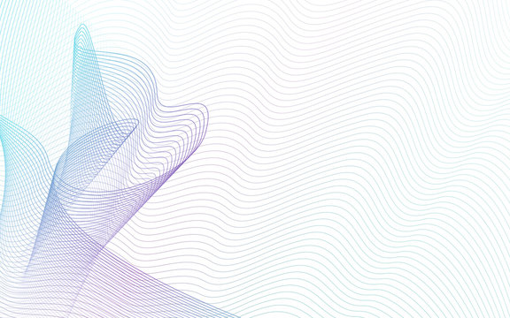 Teal, purple ripple swirl lines, white background. Abstract multicolor waves. Art line vector design, soft gradient. Technology fantasy pattern. Horizontal composition, copy space. EPS10 illustration