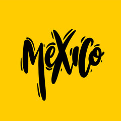 Mexico hand drawn vector lettering isolated on yellow.