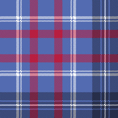 Blue check plaid pixel fabric seamless texture
