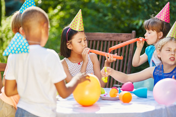 Kids at party in summer