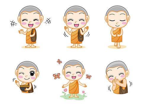 Set of little cute monk, Cartoon Character Concept, flat design vector isolated white background.