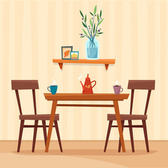 Dining table in kitchen with chairs, cups and teapot. Flat cartoon style vector illustration.