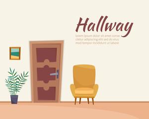 Hallway interior with furniture. Flat cartoon style vector illustration.