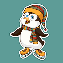 Cute funny penguin in a hat and scarf on skates sticker, design element, colorful hand drawing, cartoon character, vector illustration, caricature, isolated with white stroke on colored background