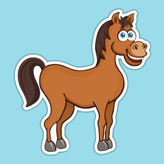 Painted cute funny brown smiling horse sticker, design element, print, colorful hand drawing, cartoon character, vector illustration, caricature, isolated with white stroke on colored blue background