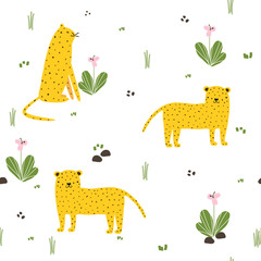 Seamless pattern with funny wild cat. Kids print. Vector hand drawn illustration.