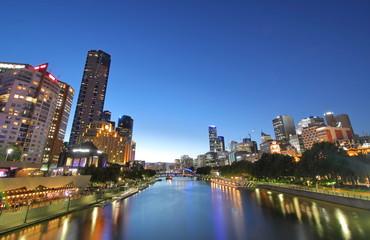 Night cityscape Melbourne Australia