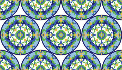 Vector Mosaic Classic Colorful Medallion Seamlessn Pattern