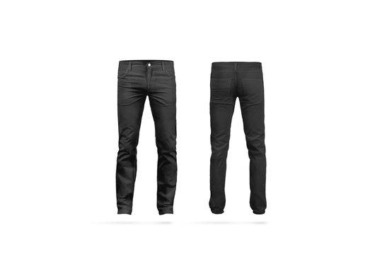 Blank black mens pants mock up, isolated