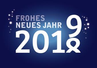 Neujahrsgruß 2019 Jahreswechsel mit Jahreszahlen auf blauem Hintergrund