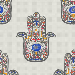 Hamsa Hand with an Eye seamless repeating pattern for graphic designs, wallpapers, textiles, stationery, home decor, as a background or texture