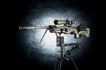 Sniper rifle on a special mount.