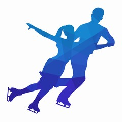 illustration of figure skating couple , vector draw