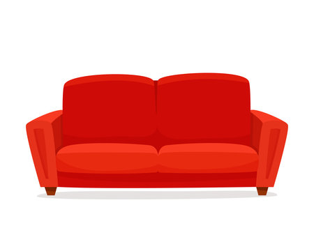 Comfortable sofa on white background. Isolated red couch lounge in interior. Flat cartoon style vector illustration.