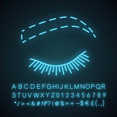 Eyebrow contouring neon light icon