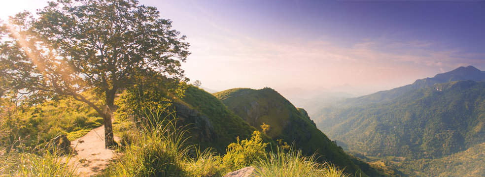 magic beautiful view from little Adams peak at Sri Lanka. Fresh nature background. High mountain with trees, blue sky.