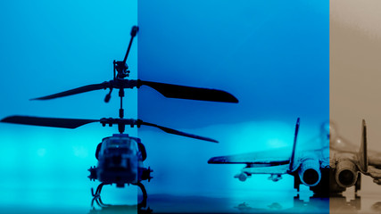 Government Military Technology Blurry Abstract Background, Helicopter and Drone , Concepts Of Modern Military Operation or Military Grade Product.