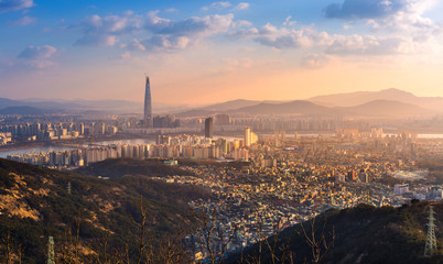 seoul city, skyline and skyscraper, south korea.