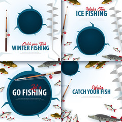 Winter Ice Fishing on the lake. Set of Banners with fish, rod and ice screw. Vector Flat illustration.