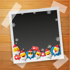 Santa Emoji happy smiley design with Old photo frames. Photo frames isolated on wooden background. 3d emotion concept illustration background.