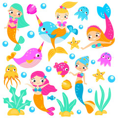 Cute mermaids. Cartoon mermaid, narwhals, fishes and other underwater characters. Stickers, clip art, isolated elements