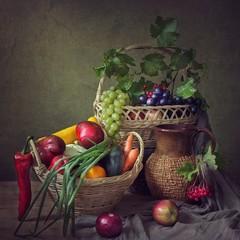Still life with autumn harvest