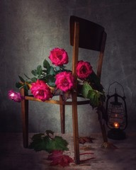 Still life with lying bouquet of roses