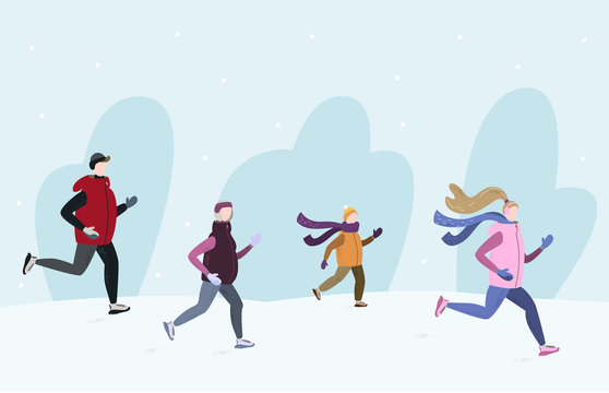 People running together outside in winter cold season. Handdrawn vector illustration