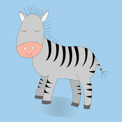 Cute cartoon zebra. Vector print. Isolated. Color background. Good for t shirt design, stickers, cards and nursery decor.