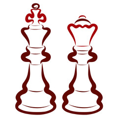 Two dark chess pieces, a king and a queen, a pair