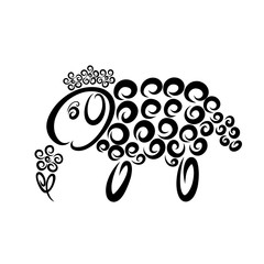 Funny fluffy sheep with a wreath on its head sniffs a flower
