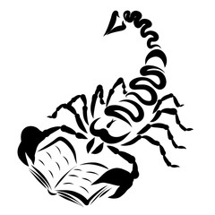 Dangerous scorpion with a book, creative black pattern