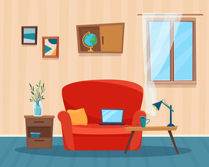 Living room with sofa, computer and table. Cartoon flat style vector illustration.
