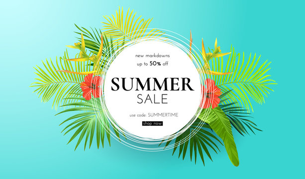 Green summer tropical background with exotic palm leaves and hibiscus flowers. Vector floral background. Sale banner or flyer template.