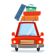 Red car with suitcases. Flat cartoon style vector illustration.
