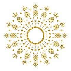 Golden Pineapple. Glitter Frame. Vector