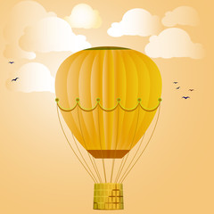 Large isolated colored balloon against the bright sky, clouds and birds. Vector illustration for your design.