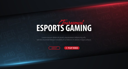 Cyber Sport banner. Esports Gaming. Video Games. Live streaming game match. Vector illustration. Fotoväggar