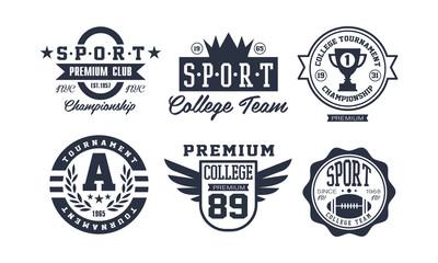 Sport college team logo design set, vintage premium sport club emblem or badge vector Illustration