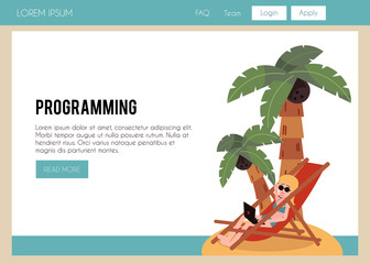 Vector illustration of girl freelancer in swimsuit working with laptop at beach sitting in deck chair on sand under palm trees in flat style on web page template - young woman doing remote work.