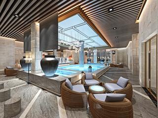 3d render spa pool wellness space
